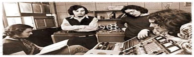ALMENDRA en los estudios TNT, donde hicieron sus primeras grabaciones.